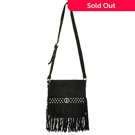 710-011 - Jack French London ''Carnaby'' Stud & Fringe Suede Leather Cross Body Bag