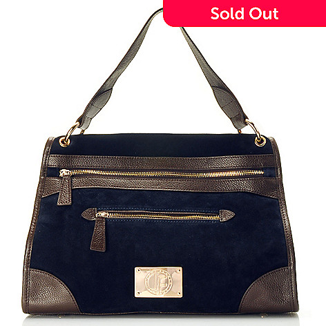 710-015 - Jack French London Suede Leather Zip Front Satchel