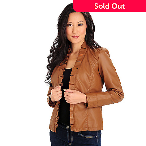 710-024 - Kate & Mallory® Faux Leather Ruffle Trimmed Open Front Jacket