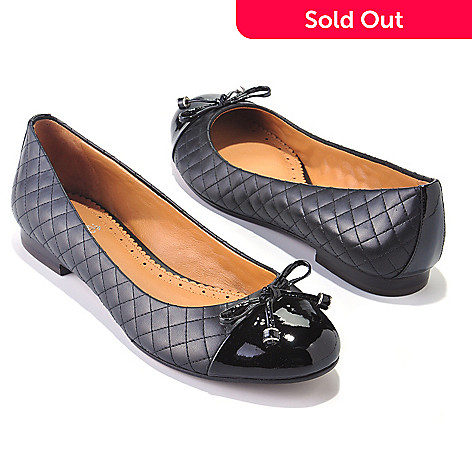 710-033 - Brooks Brothers® Quilted & Patent Leather Bow Detailed Flats
