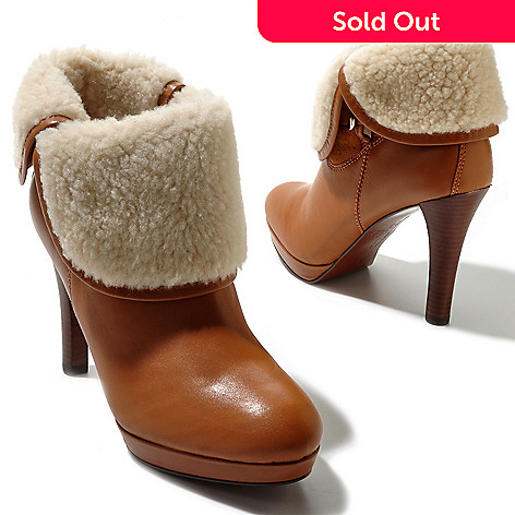 710-035 - Brooks Brothers® Calf Leather & Shearling Lined Ankle Boots Platform Pumps