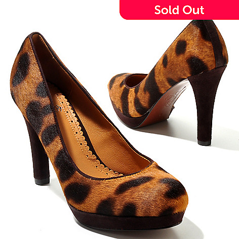 710-037 - Brooks Brothers Leather & Calf Hair Leopard Print Platform Pumps