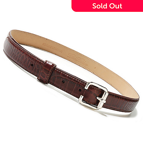 710-041 - Brooks Brothers Reptile Embossed Leather Square Buckle Belt