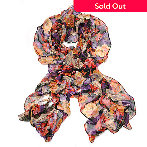710-046 - Brooks Brothers Floral Rusched Oblong Chiffon Silk Scarf