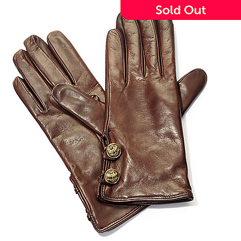 710-061 - Brooks Brothers Women's Cashmere Lined Lambskin Leather Button Detail Gloves