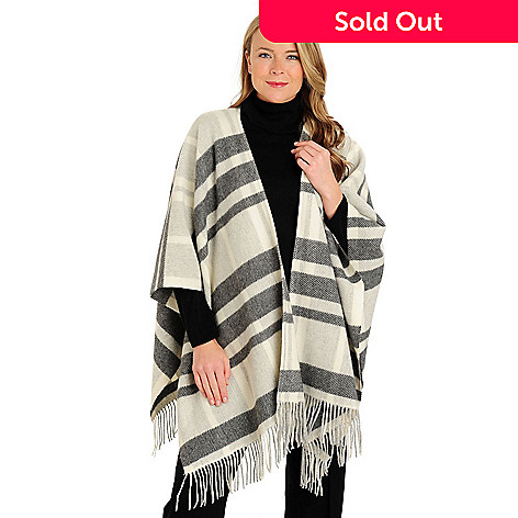 710-070 - Brooks Brothers® Fringe Detail Wool & Cashmere Ruana Poncho