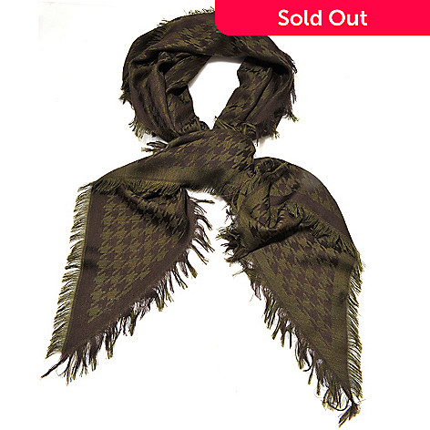 710-071 - Brooks Brothers Houndstooth Fringed Wool Kite Scarf