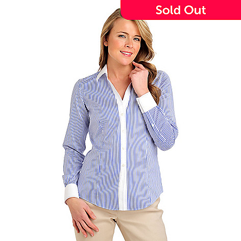 710-078 - Brooks Brothers Stretch Cotton Bengal Stripe Pick Stitch Blouse