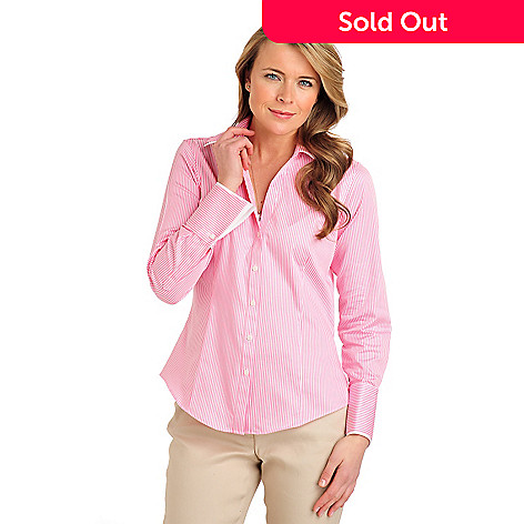 710-079 - Brooks Brothers® Stretch Cotton Button-down French Cuffed Striped Blouse