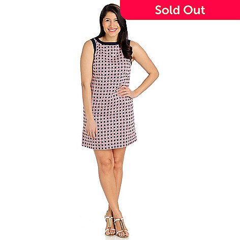 710-083 - Brooks Brothers Cotton Sleeveless Geometric Print Scoop Neck Dress
