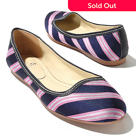 710-110 - Brooks Brothers Silk Diagonal Stripe Ballet Flats