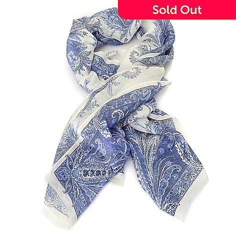 710-118 - Brooks Brothers® Linen & Silk Floral Paisley Oblong Scarf