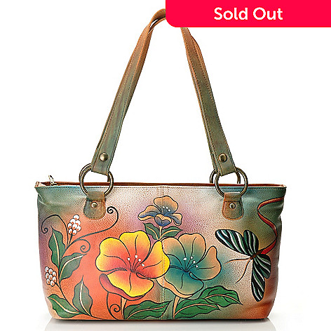 710-122 - Anuschka Hand-Painted Leather Zip Top Double Entry East-West Handbag