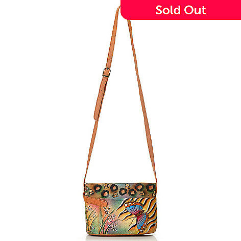 710-123 - Anuschka Zip Top Hand Painted Leather Cross Body Bag