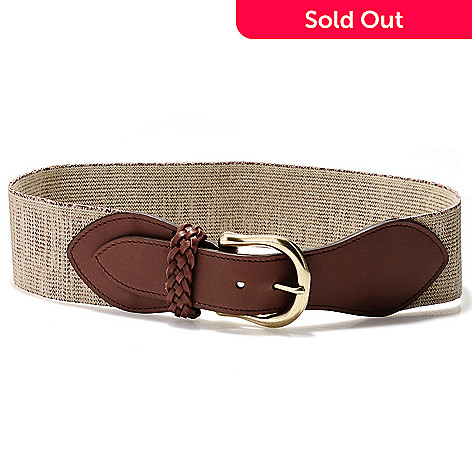 710-126 - Brooks Brothers Khaki & Brown Braid Detailed Wide Stretch Belt