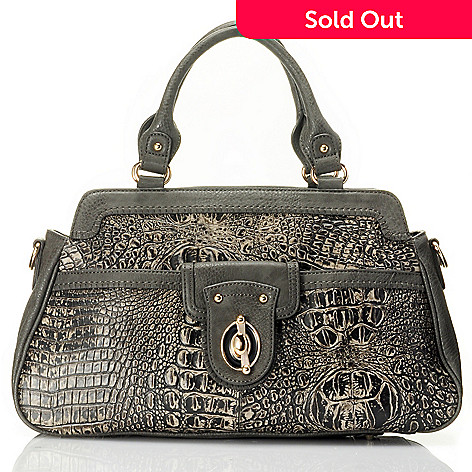 710-128 - Madi Claire Croco Embossed Leather Swing Lock Satchel