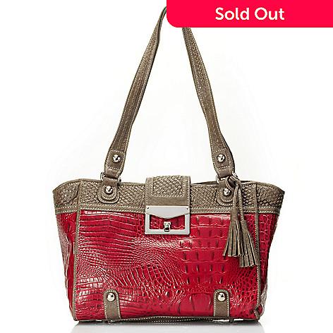 710-131 - Madi Claire ''Sarah'' Crocodile Embossed Leather Tote Bag