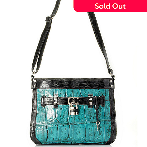 710-139 - Madi Claire ''Rachel'' Jumbo Crocodile Embossed Leather Cross Body Bag