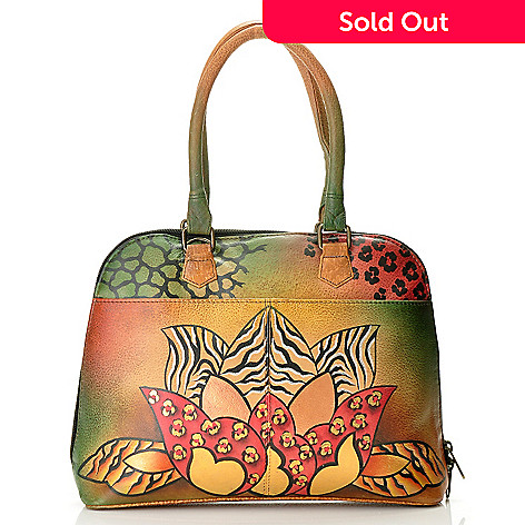 710-145 - Anuschka Hand-Painted Leather Zip Around Double Handled Satchel