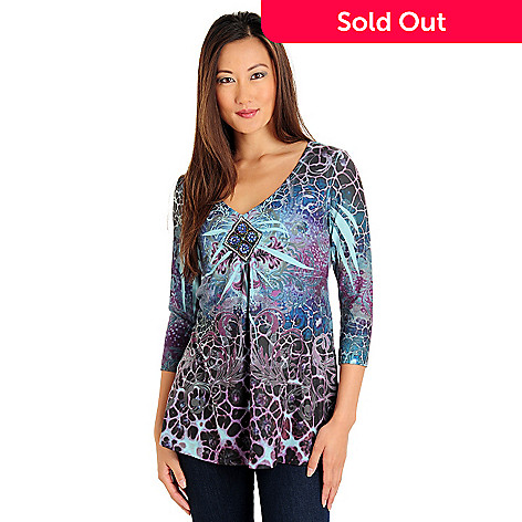710-146 - One World Stretch Knot 3/4 Sleeved Beaded V-Neck Printed Top