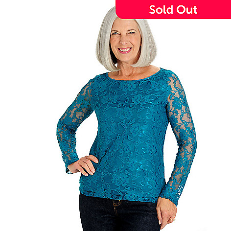 710-147 - Kate & Mallory® Stretch Lace Long Sleeved Scoop Neck Lined Top