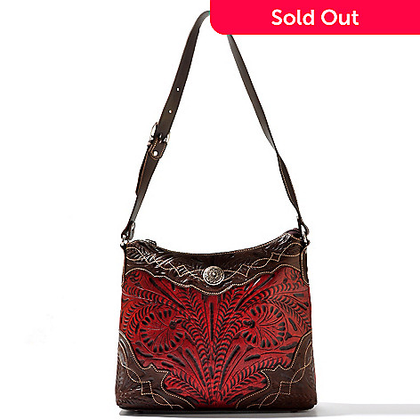 710-251 - American West Hand-Tooled Leather Boot Stitch Edging Shoulder Bag
