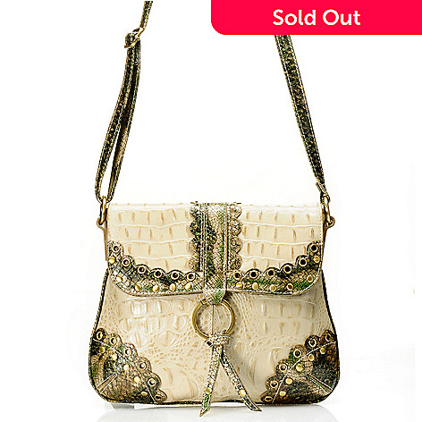 710-252 - Madi Claire Croco Embossed Leather ''Connie'' Cross Body Bag