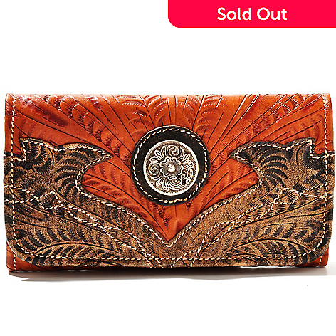 710-253 - American West Boot Stitch Design Hand-Tooled Leather Tri-Fold Wallet