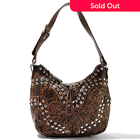 710-255 - American West Stud Detail Zip Top Hand Tooled Leather Hobo Bag