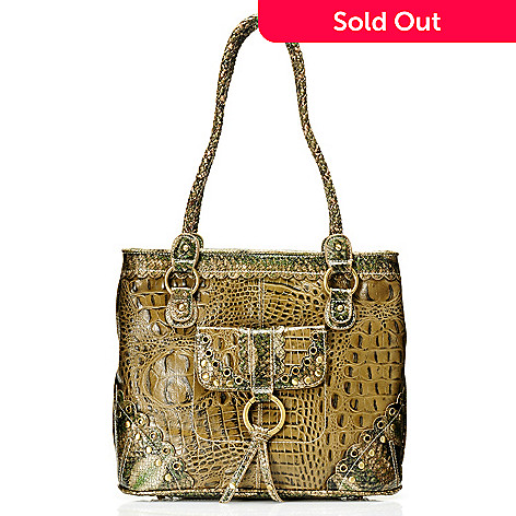 710-256 - Madi Claire ''Connie'' Scallop Detail Crocodile Embossed Leather Tote Bag