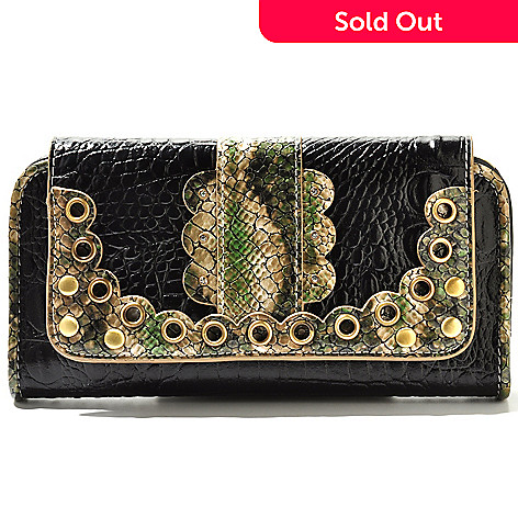 710-257 - Madi Claire ''Connie'' Scallop Detail Crocodile Embossed Leather Wallet