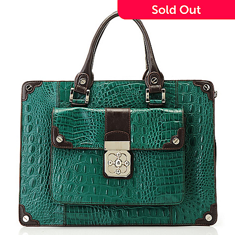 710-266 - Madi Claire Croco Embossed Leather Turn Lock Briefcase w/ Shoulder Strap