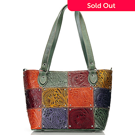 710-267 - American West Patchwork Hand Tooled Leather Tote Bag