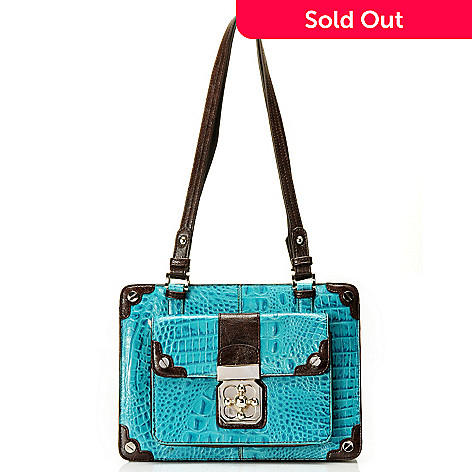 710-268 - Madi Claire Croco Embossed Leather ''Michele'' Zip Top Tote Bag