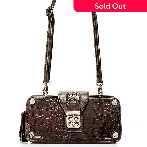 710-270 - Madi Claire Crocodile Embossed Leather ''Michele'' Organizer Cross Body Bag