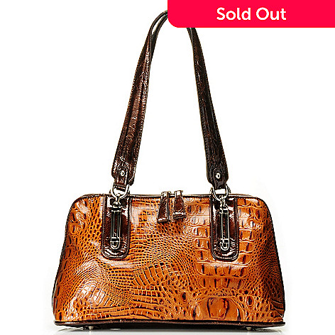 710-274 - Madi Claire Croco Embossed Leather ''Melissa'' Zip Around Dome Satchel