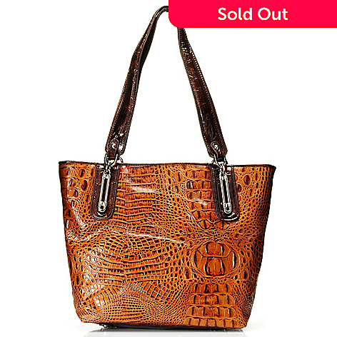 710-276 - Madi Claire Croco Embossed Leather Zip Top Tote Bag