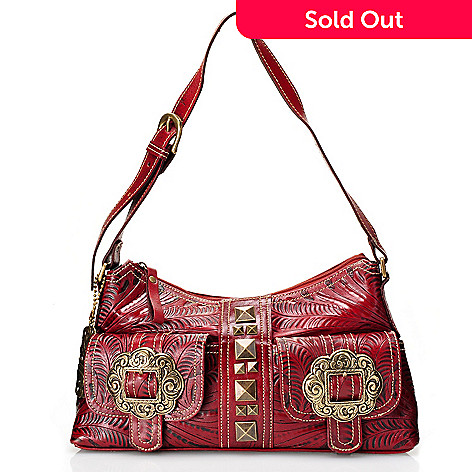 710-281 - American West Hand-Tooled Leather Zip Top Shoulder Bag