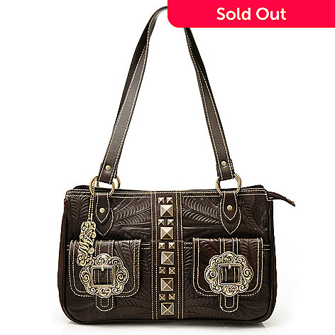 710-283 - American West Hand-Tooled Leather Triple Compartment Tote Bag