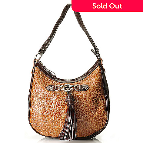 710-298 - Madi Claire Croco Embossed Leather ''Abbie'' Zip Top Hobo Handbag