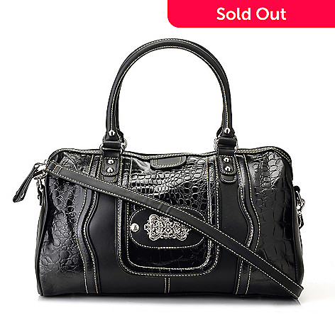710-303 - Madi Claire ''Candice'' Zip Top Crocodile Embossed Leather Satchel