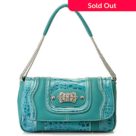 710-304 - Madi Claire ''Candice'' Crocodile Embossed Leather Shoulder Bag