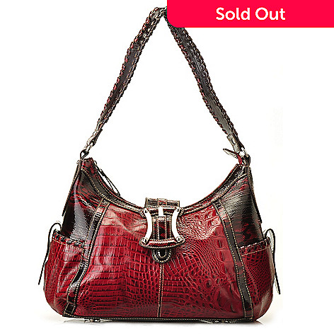 710-308 - Madi Claire ''Kendy'' Zip Top Crocodile Embossed Leather Hobo Bag
