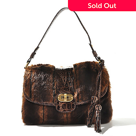710-331 - Sondra Roberts Faux Fur Crocodile Embossed Turn Lock Tote Bag