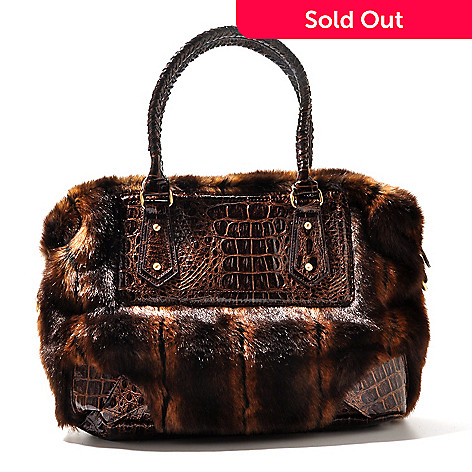 710-332 - Sondra Roberts Faux Fur Crocodile Embossed Zip Top Satchel
