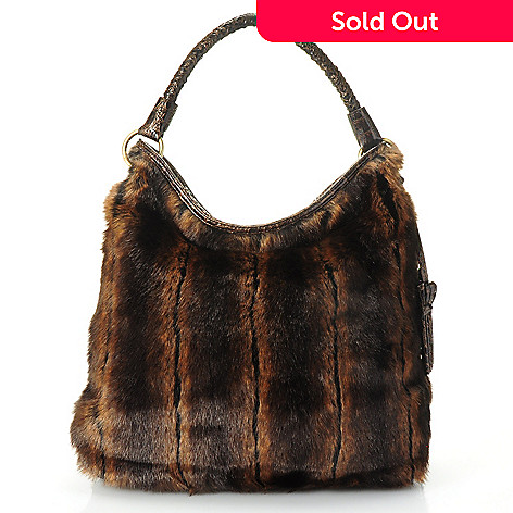710-333 - Sondra Roberts Faux Fur Crocodile Embossed Zip Top Hobo Bag