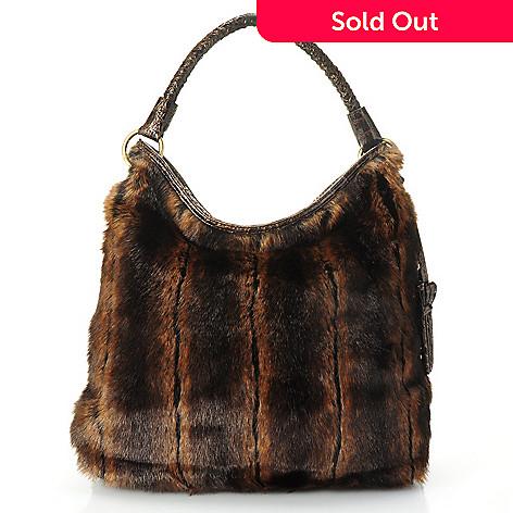 710-333 - Sondra Roberts Faux Fur Crocodile Embossed Zip Top Hobo Bag