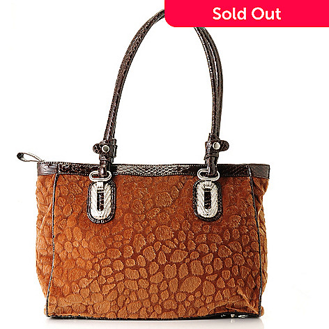 710-419 - Madi Claire ''Ellie'' Faux Animal Fur Zip Top Tote Bag