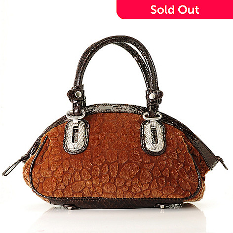710-420 - Madi Claire ''Ellie'' Faux Animal Fur Zip Top Domed Satchel