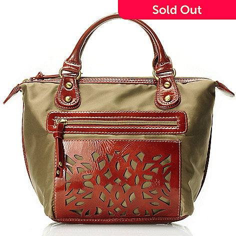 710-501 - Sondra Roberts Zip Top Laser Cut Patent Top Handle Bag